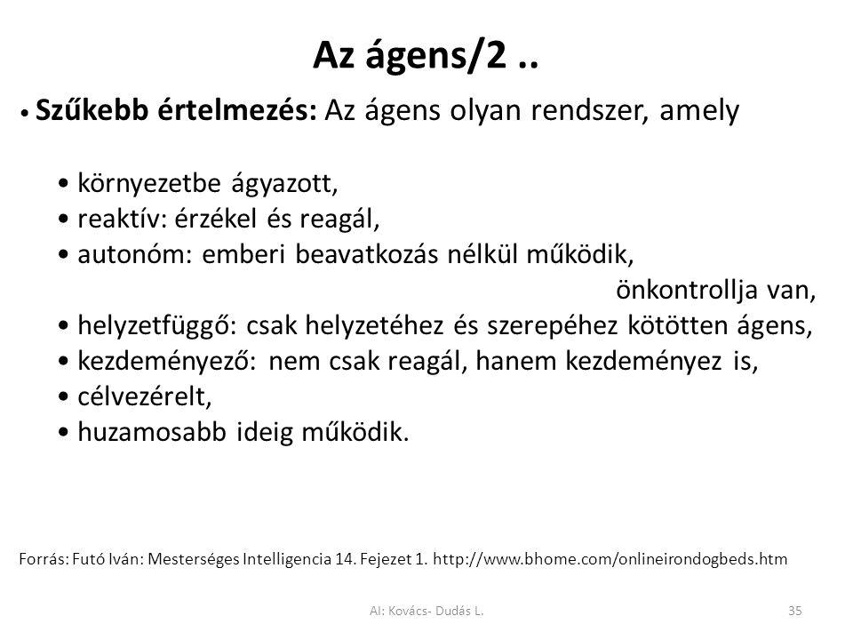 Az ágens/2.. Szűkebb értelmezés: Az ágens olyan rendszer, amely környezetbe ágyazott, reaktív: érzékel és reagál, autonóm: emberi beavatkozás nélkül m