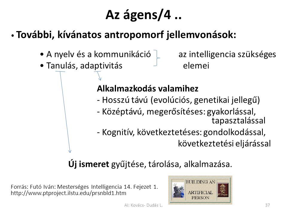 Az ágens/4.. További, kívánatos antropomorf jellemvonások: A nyelv és a kommunikáció az intelligencia szükséges Tanulás, adaptivitáselemei Alkalmazkod