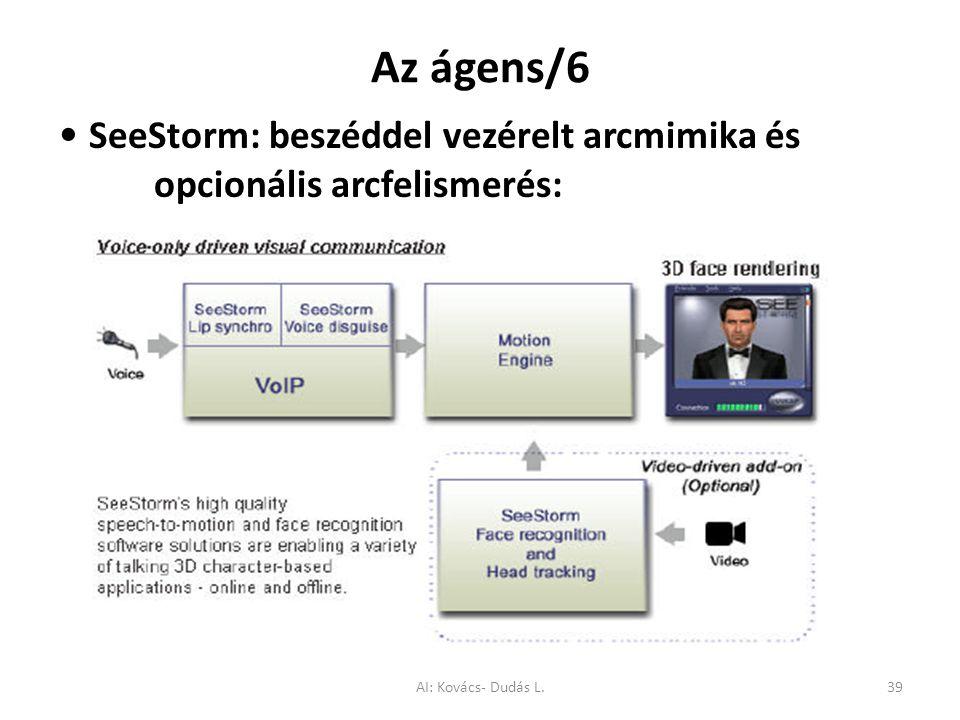 Az ágens/6 SeeStorm: beszéddel vezérelt arcmimika és opcionális arcfelismerés: AI: Kovács- Dudás L.39