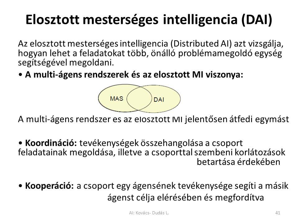 Elosztott mesterséges intelligencia (DAI) Az elosztott mesterséges intelligencia (Distributed AI) azt vizsgálja, hogyan lehet a feladatokat több, önál