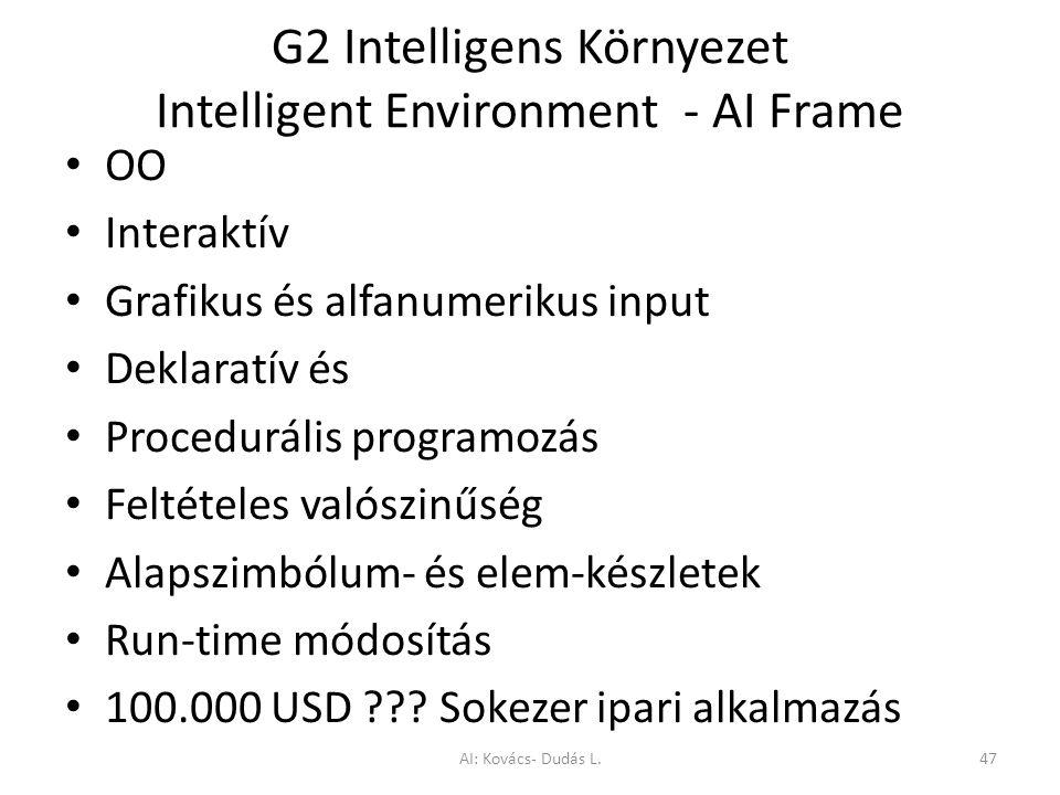 G2 Intelligens Környezet Intelligent Environment - AI Frame OO Interaktív Grafikus és alfanumerikus input Deklaratív és Procedurális programozás Felté