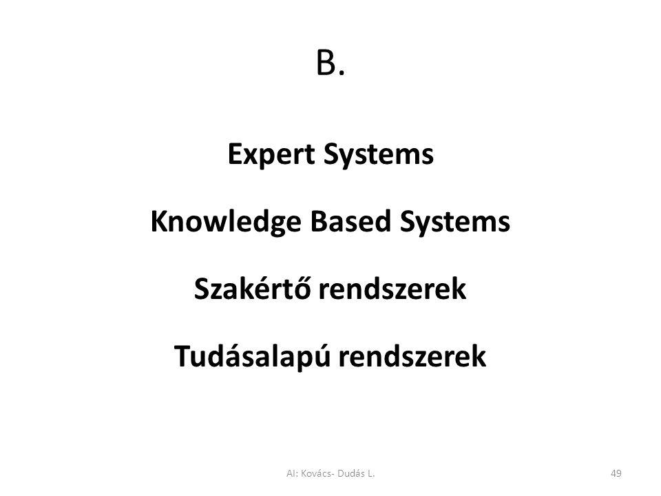 B. Expert Systems Knowledge Based Systems Szakértő rendszerek Tudásalapú rendszerek AI: Kovács- Dudás L.49