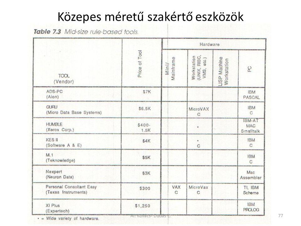 Közepes méretű szakértő eszközök AI: Kovács- Dudás L.77