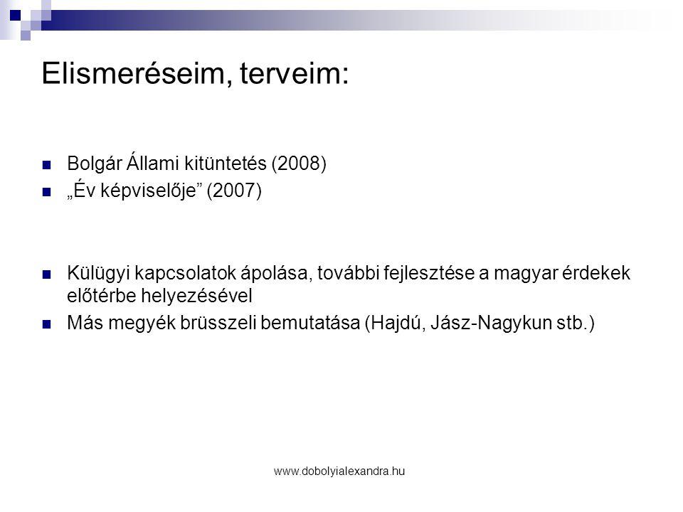 """Elismeréseim, terveim: Bolgár Állami kitüntetés (2008) """"Év képviselője"""" (2007) Külügyi kapcsolatok ápolása, további fejlesztése a magyar érdekek előté"""