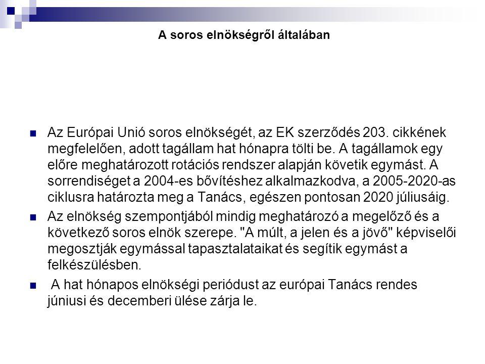 A soros elnökségről általában Az Európai Unió soros elnökségét, az EK szerződés 203. cikkének megfelelően, adott tagállam hat hónapra tölti be. A tagá