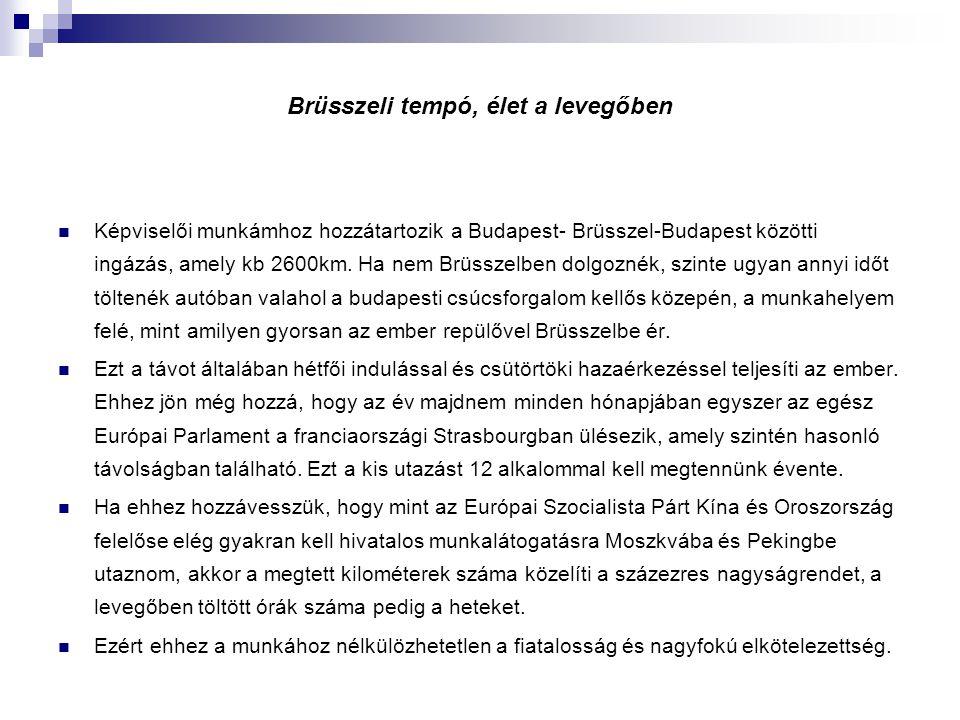 Brüsszeli tempó, élet a levegőben Képviselői munkámhoz hozzátartozik a Budapest- Brüsszel-Budapest közötti ingázás, amely kb 2600km. Ha nem Brüsszelbe