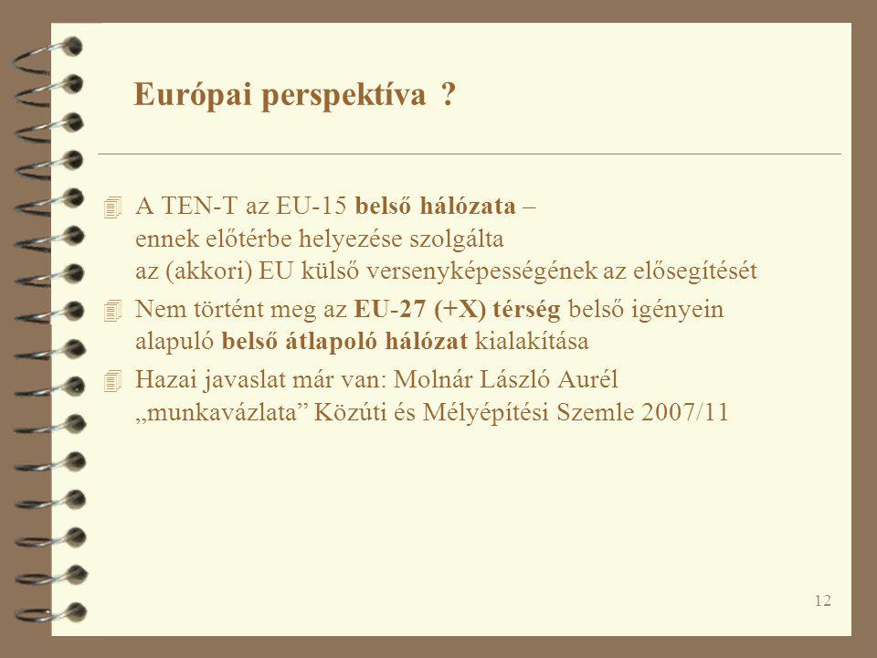 12 Európai perspektíva ? 4 A TEN-T az EU-15 belső hálózata – ennek előtérbe helyezése szolgálta az (akkori) EU külső versenyképességének az elősegítés