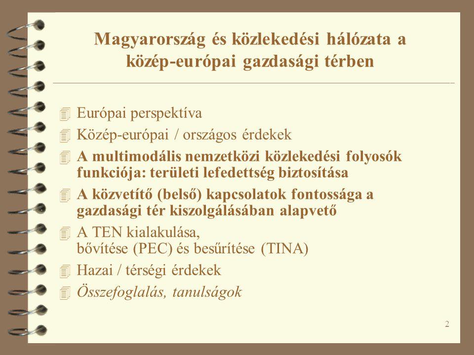 2 Magyarország és közlekedési hálózata a közép-európai gazdasági térben 4 Európai perspektíva 4 Közép-európai / országos érdekek 4 A multimodális nemz