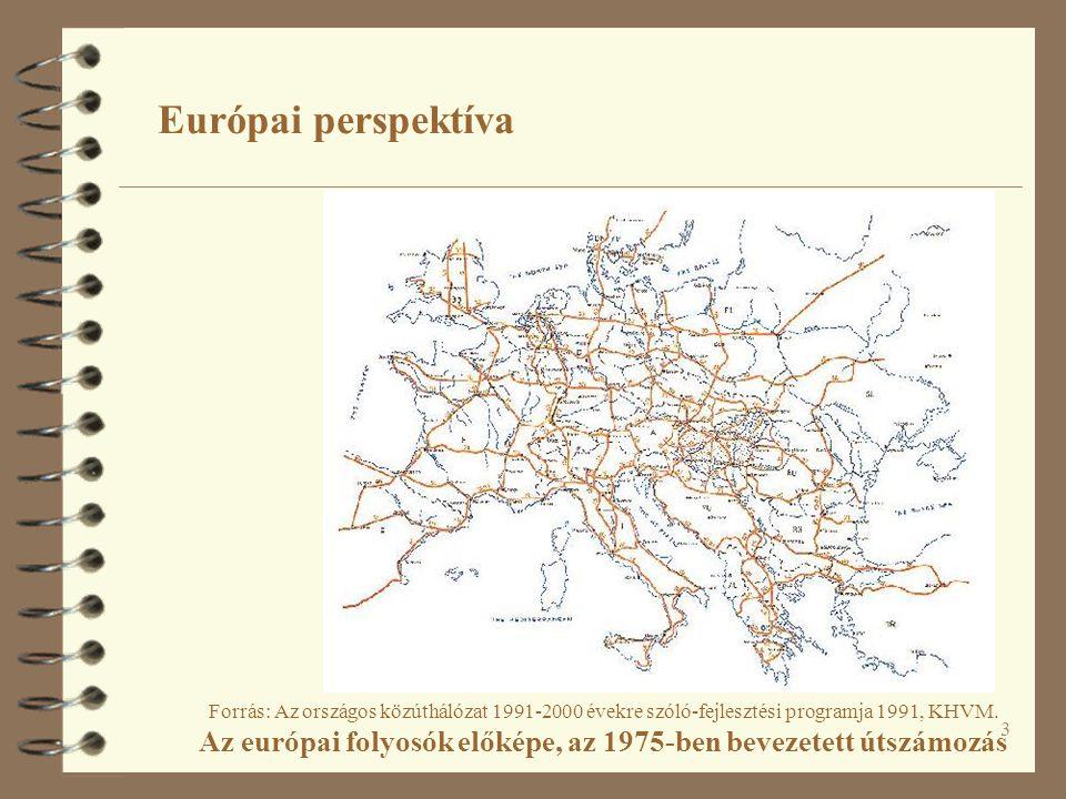 3 Európai perspektíva Forrás: Az országos közúthálózat 1991-2000 évekre szóló-fejlesztési programja 1991, KHVM. Az európai folyosók előképe, az 1975-b