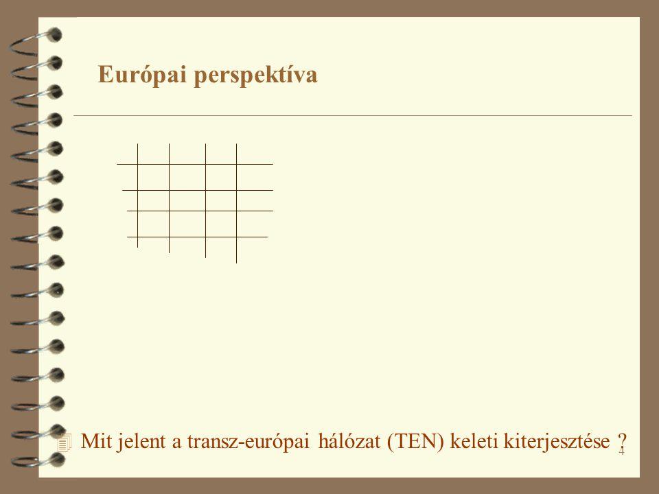 4 4 Mit jelent a transz-európai hálózat (TEN) keleti kiterjesztése ? Európai perspektíva