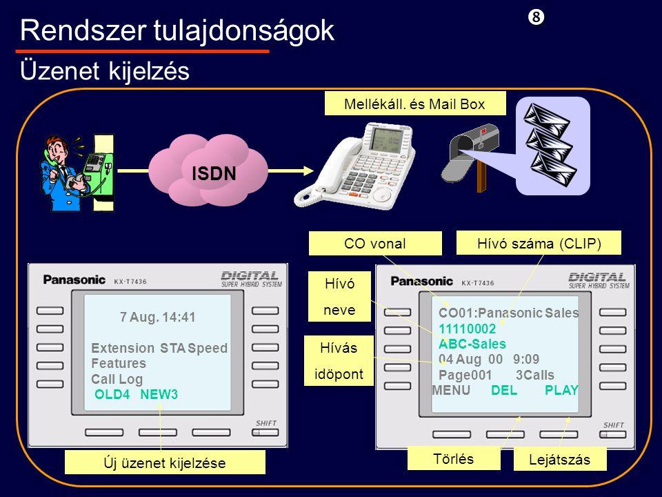 CO01:Panasonic Sales 11110002 ABC-Sales 04 Aug 00 9:09 Page001 3Calls MENU DEL PLAY Rendszer tulajdonságok Üzenet kijelzés CO vonal 7 Aug.