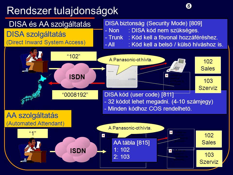 AA szolgáltatás (Automated Attendant) DISA szolgáltatás (Direct Inward System Access) DISA kód (user code) [811] - 32 kódot lehet megadni.