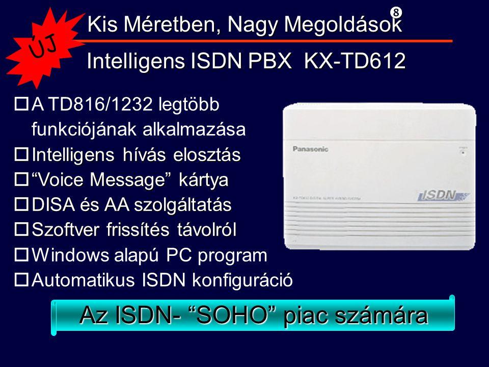 Kis Méretben, Nagy Megoldások Intelligens ISDN PBX KX-TD612 oA TD816/1232 legtöbb funkciójának alkalmazása oIntelligens hívás elosztás o Voice Message kártya oDISA és AA szolgáltatás oSzoftver frissítés távolról oWindows alapú PC program oAutomatikus ISDN konfiguráció ÚJ Az ISDN- SOHO piac számára