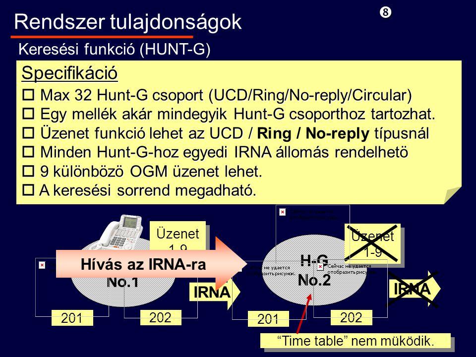 H-G No.1 Specifikáció o Max 32 Hunt-G csoport (UCD/Ring/No-reply/Circular) o Egy mellék akár mindegyik Hunt-G csoporthoz tartozhat.