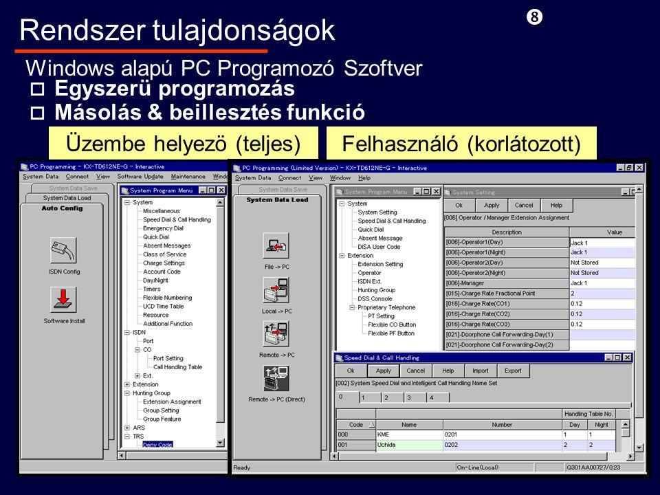o Egyszerü programozás o Másolás & beillesztés funkció Rendszer tulajdonságok Windows alapú PC Programozó Szoftver Üzembe helyezö (teljes) Felhasználó (korlátozott)