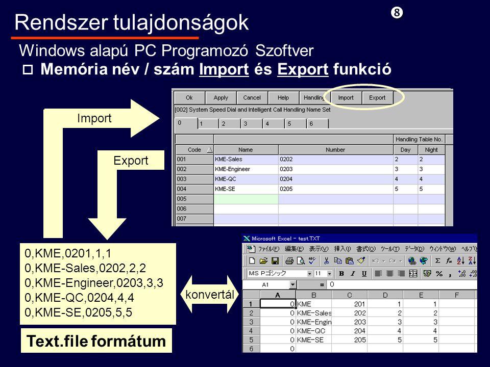 o Memória név / szám Import és Export funkció 0,KME,0201,1,1 0,KME-Sales,0202,2,2 0,KME-Engineer,0203,3,3 0,KME-QC,0204,4,4 0,KME-SE,0205,5,5 Text.file formátum konvertál Import Export Rendszer tulajdonságok Windows alapú PC Programozó Szoftver
