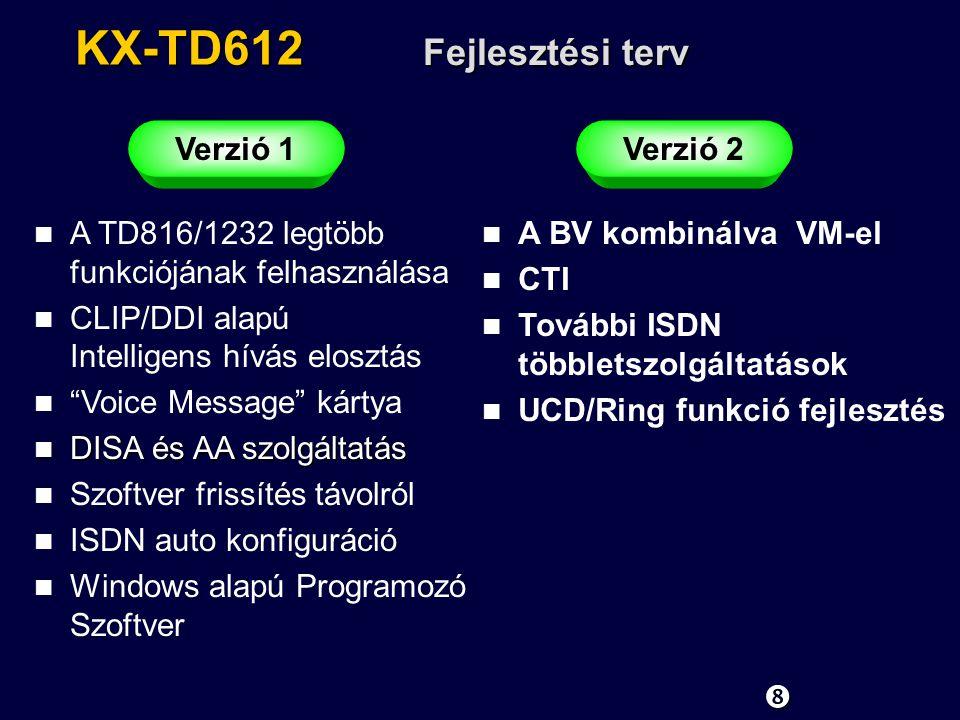 KX-TD612 Fejlesztési terv Verzió 1Verzió 2 n A TD816/1232 legtöbb funkciójának felhasználása n CLIP/DDI alapú Intelligens hívás elosztás n Voice Message kártya n DISA és AA szolgáltatás n Szoftver frissítés távolról n ISDN auto konfiguráció n Windows alapú Programozó Szoftver n A BV kombinálva VM-el n CTI n További ISDN többletszolgáltatások n UCD/Ring funkció fejlesztés