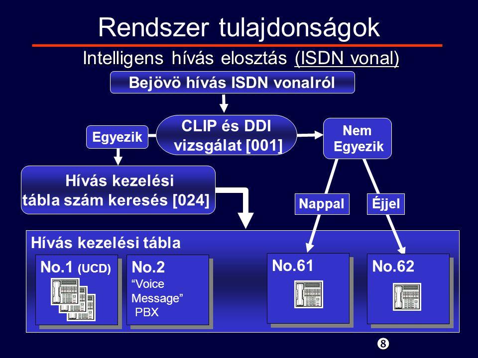 Hívás kezelési tábla Rendszer tulajdonságok Intelligens hívás elosztás (ISDN vonal) Bejövö hívás ISDN vonalról Egyezik Hívás kezelési tábla szám keresés [024] No.2 Voice Message PBX No.2 Voice Message PBX CLIP és DDI vizsgálat [001] Nappal Éjjel Nem Egyezik No.1 (UCD) No.61 No.62