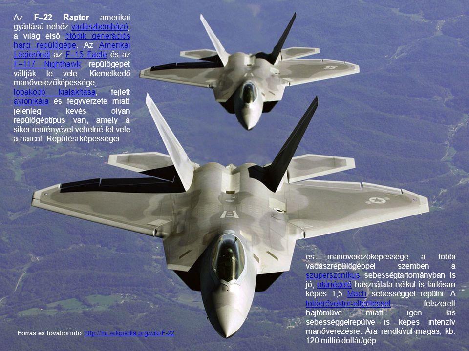 Az F–22 Raptor amerikai gyártású nehéz vadászbombázó, a világ első ötödik generációs harci repülőgépe. Az Amerikai Légierőnél az F–15 Eagle és az F–11