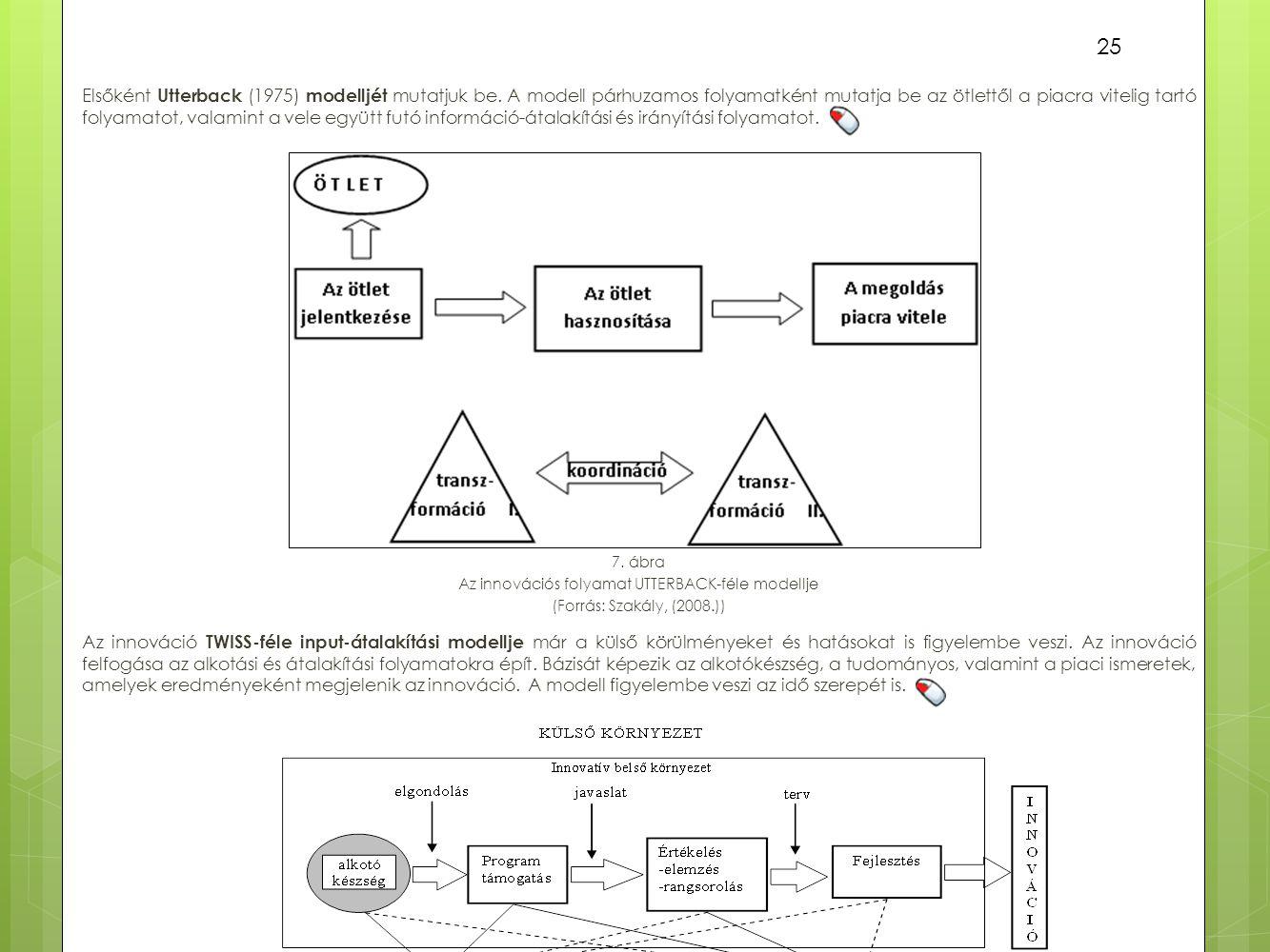 Elsőként Utterback (1975) modelljét mutatjuk be. A modell párhuzamos folyamatként mutatja be az ötlettől a piacra vitelig tartó folyamatot, valamint a