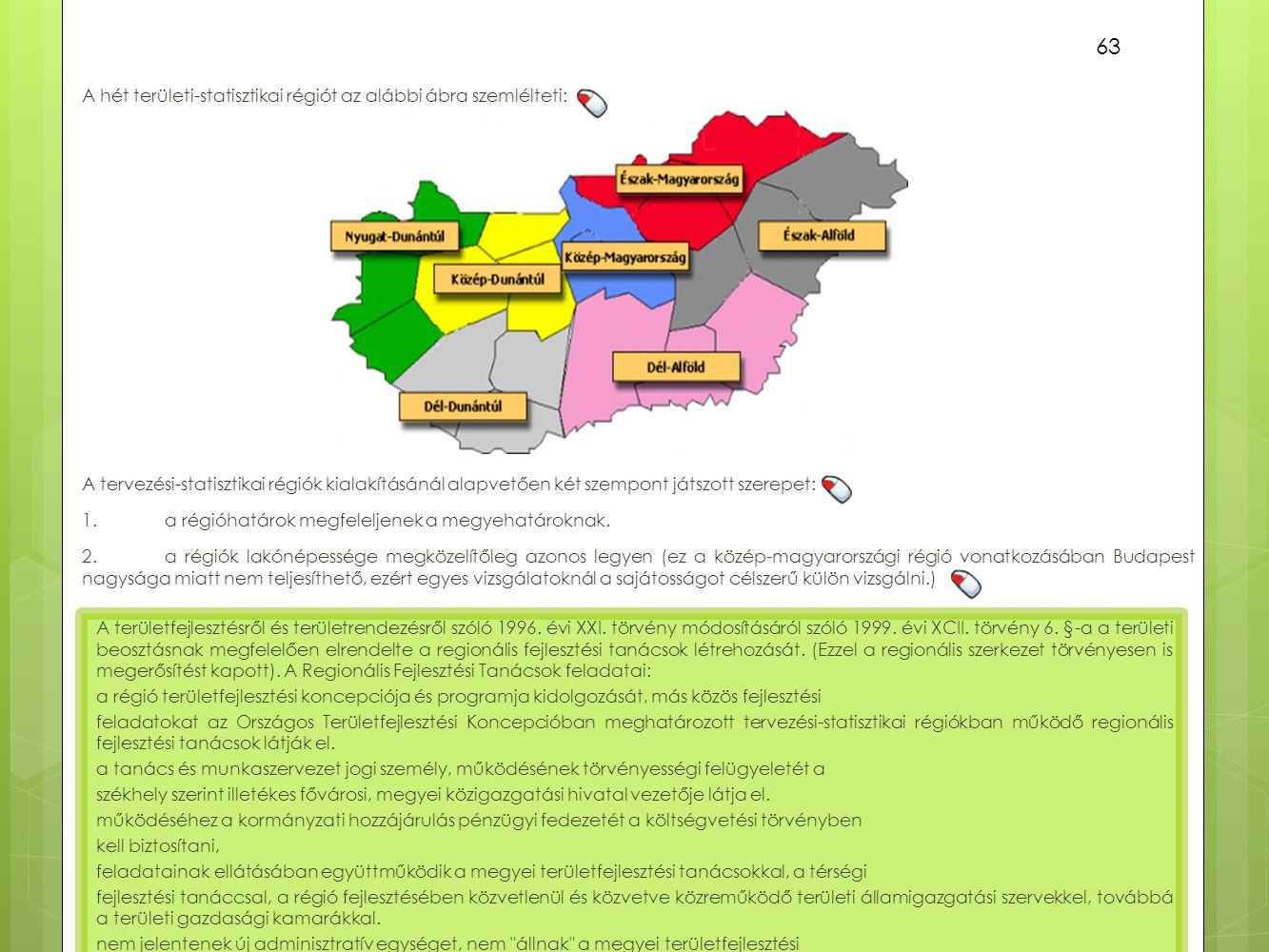 A hét területi-statisztikai régiót az alábbi ábra szemlélteti: 63 A tervezési-statisztikai régiók kialakításánál alapvetően két szempont játszott szer