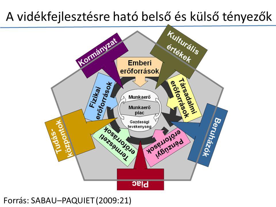 A vidékfejlesztésre ható belső és külső tényezők Forrás: SABAU–PAQUIET (2009:21)