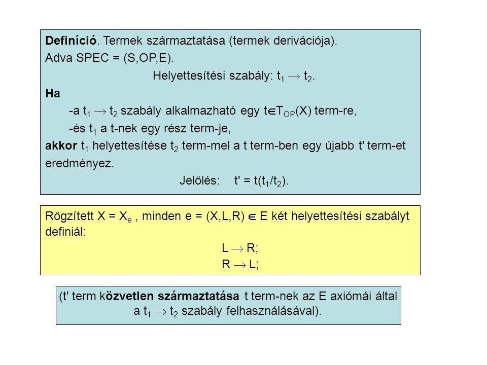 Definíció. Termek származtatása (termek derivációja).