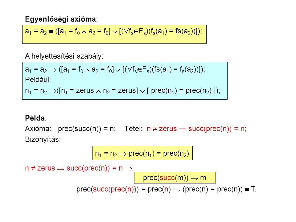 Egyenlőségi axióma: a 1 = a 2  ([a 1 = f 0  a 2 = f 0 ]  [(  f s  F s )(f s (a 1 ) = fs(a 2 ))]); A helyettesítési szabály: a 1 = a 2  ([a 1 = f 0  a 2 = f 0 ]  [(  f s  F s )(fs(a 1 ) = f s (a 2 ))]); Például: n 1 = n 2  ([n 1 = zerus  n 2 = zerus]  [ prec(n 1 ) = prec(n 2 ) ]); Példa.