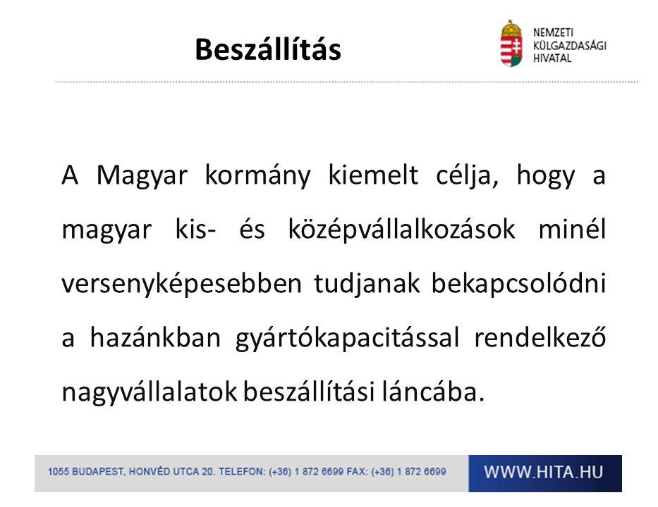 Beszállítás A Magyar kormány kiemelt célja, hogy a magyar kis- és középvállalkozások minél versenyképesebben tudjanak bekapcsolódni a hazánkban gyártó