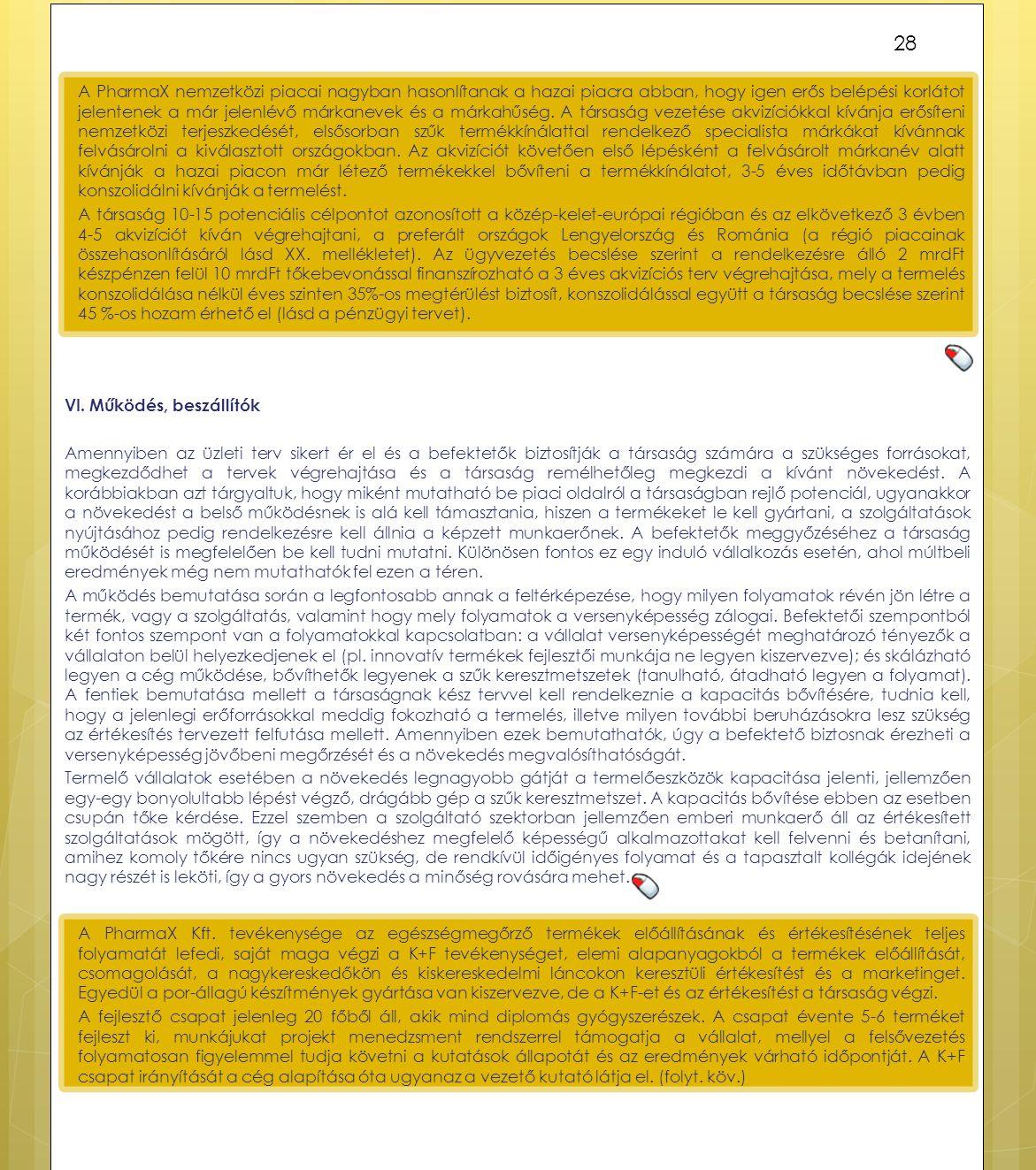 VI. Működés, beszállítók Amennyiben az üzleti terv sikert ér el és a befektetők biztosítják a társaság számára a szükséges forrásokat, megkezdődhet a