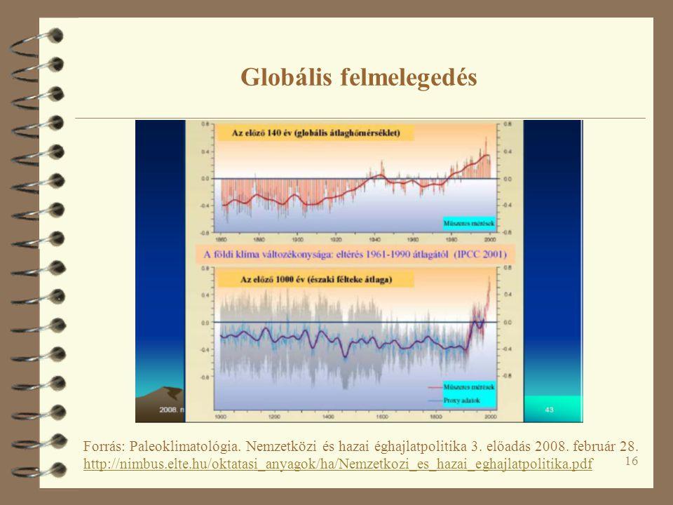 16 Globális felmelegedés Forrás: Paleoklimatológia.