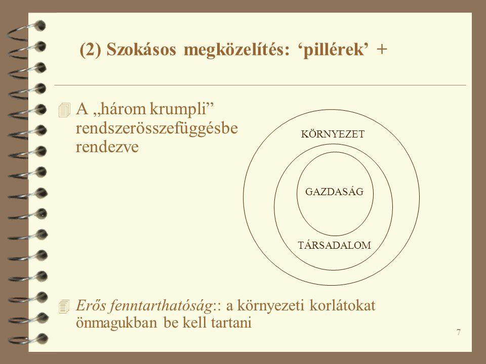 8 4 Herman Daly: az (erős) fenntarthatóság három kritériuma: 4 (1) Amit a környezetbe bocsátunk, az nem haladhatja meg a környezet befogadó/feldolgozó képességét 4 (2) Amit a környezetből kitermelünk, az nem haladhatja meg a környezet újratermelő-képességét 4 (3) A nem-megújuló erőforrások felhasználásának a mértéke nem haladhatja meg azt az ütemet, amilyen arányban helyettesíteni tudjuk őket megújuló erőforrásokkal (3) Rendszerösszefüggések S E