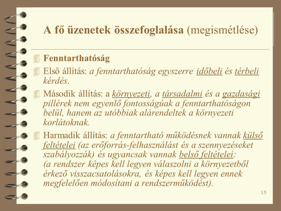 15 A fő üzenetek összefoglalása (megismétlése) 4 Fenntarthatóság 4 Első állítás: a fenntarthatóság egyszerre időbeli és térbeli kérdés.