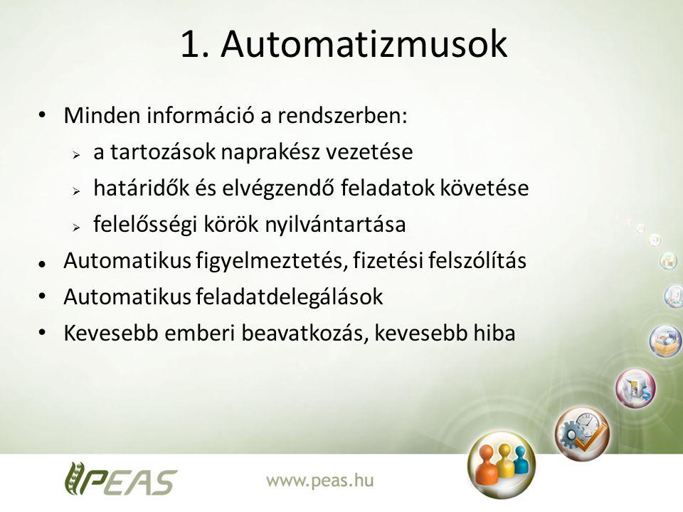 1. Automatizmusok Minden információ a rendszerben:  a tartozások naprakész vezetése  határidők és elvégzendő feladatok követése  felelősségi körök