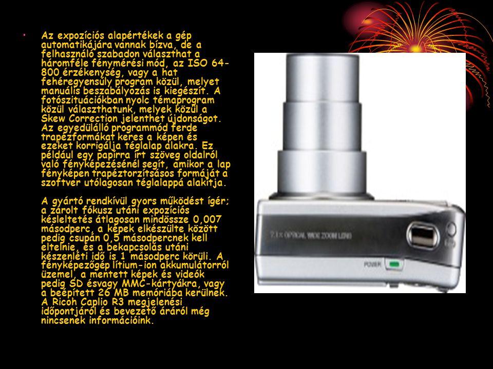 Az expozíciós alapértékek a gép automatikájára vannak bízva, de a felhasználó szabadon választhat a háromféle fénymérési mód, az ISO 64- 800 érzékenys