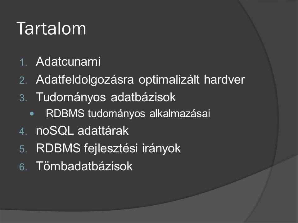 Tartalom 1. Adatcunami 2. Adatfeldolgozásra optimalizált hardver 3. Tudományos adatbázisok RDBMS tudományos alkalmazásai 4. noSQL adattárak 5. RDBMS f