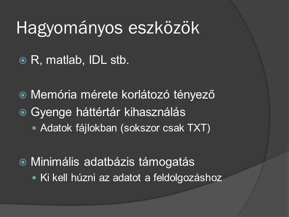 Hagyományos eszközök  R, matlab, IDL stb.  Memória mérete korlátozó tényező  Gyenge háttértár kihasználás Adatok fájlokban (sokszor csak TXT)  Min