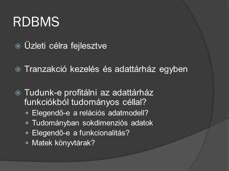 RDBMS  Üzleti célra fejlesztve  Tranzakció kezelés és adattárház egyben  Tudunk-e profitálni az adattárház funkciókból tudományos céllal? Elegendő-