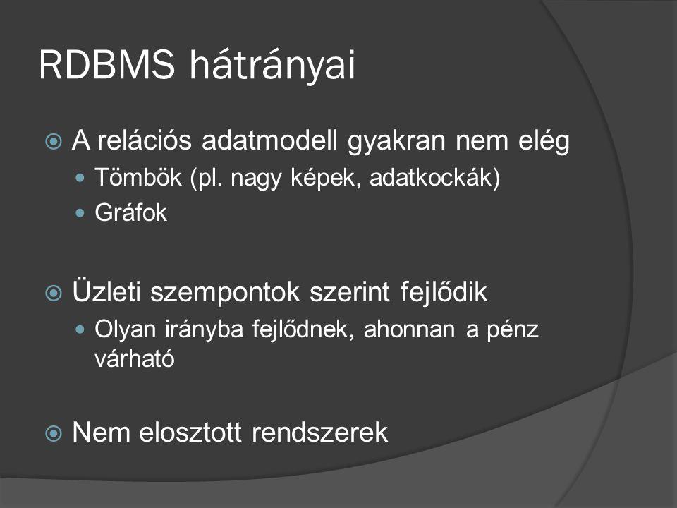 RDBMS hátrányai  A relációs adatmodell gyakran nem elég Tömbök (pl. nagy képek, adatkockák) Gráfok  Üzleti szempontok szerint fejlődik Olyan irányba