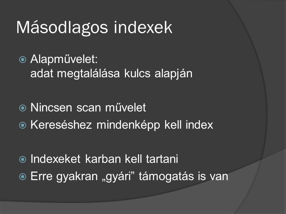 Másodlagos indexek  Alapművelet: adat megtalálása kulcs alapján  Nincsen scan művelet  Kereséshez mindenképp kell index  Indexeket karban kell tar