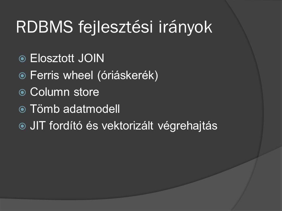 RDBMS fejlesztési irányok  Elosztott JOIN  Ferris wheel (óriáskerék)  Column store  Tömb adatmodell  JIT fordító és vektorizált végrehajtás