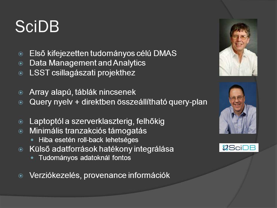 SciDB  Első kifejezetten tudományos célú DMAS  Data Management and Analytics  LSST csillagászati projekthez  Array alapú, táblák nincsenek  Query