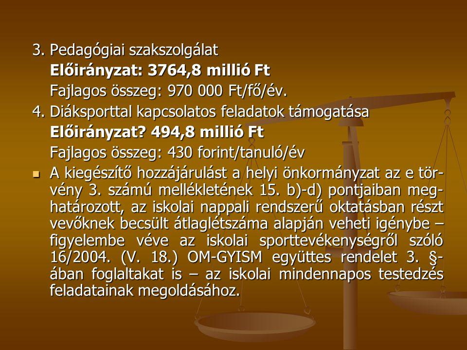 3.Pedagógiai szakszolgálat Előirányzat: 3764,8 millió Ft Fajlagos összeg: 970 000 Ft/fő/év. 4.Diáksporttal kapcsolatos feladatok támogatása Előirányza