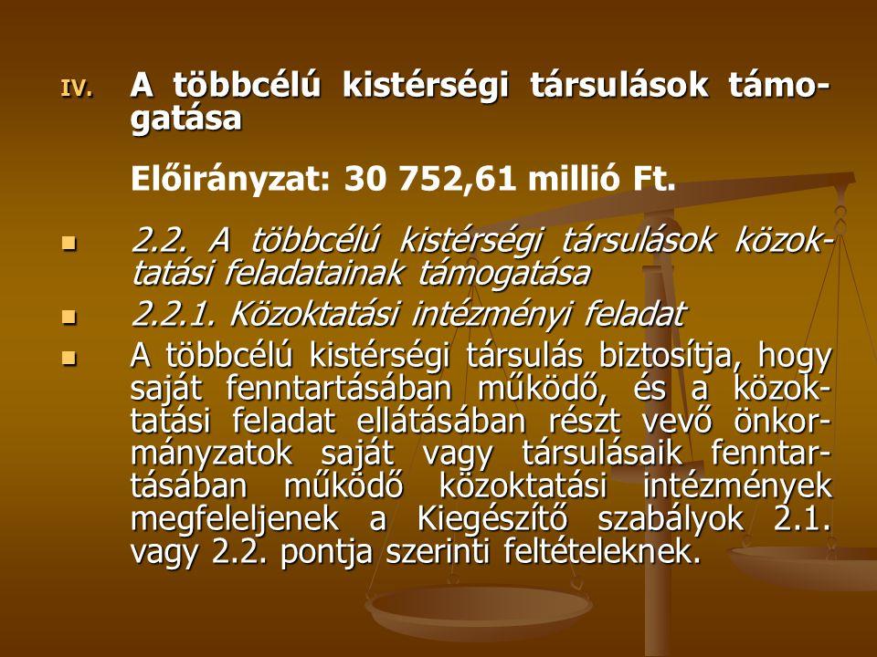 IV. A többcélú kistérségi társulások támo- gatása Előirányzat: 30 752,61 millió Ft. 2.2. A többcélú kistérségi társulások közok- tatási feladatainak t