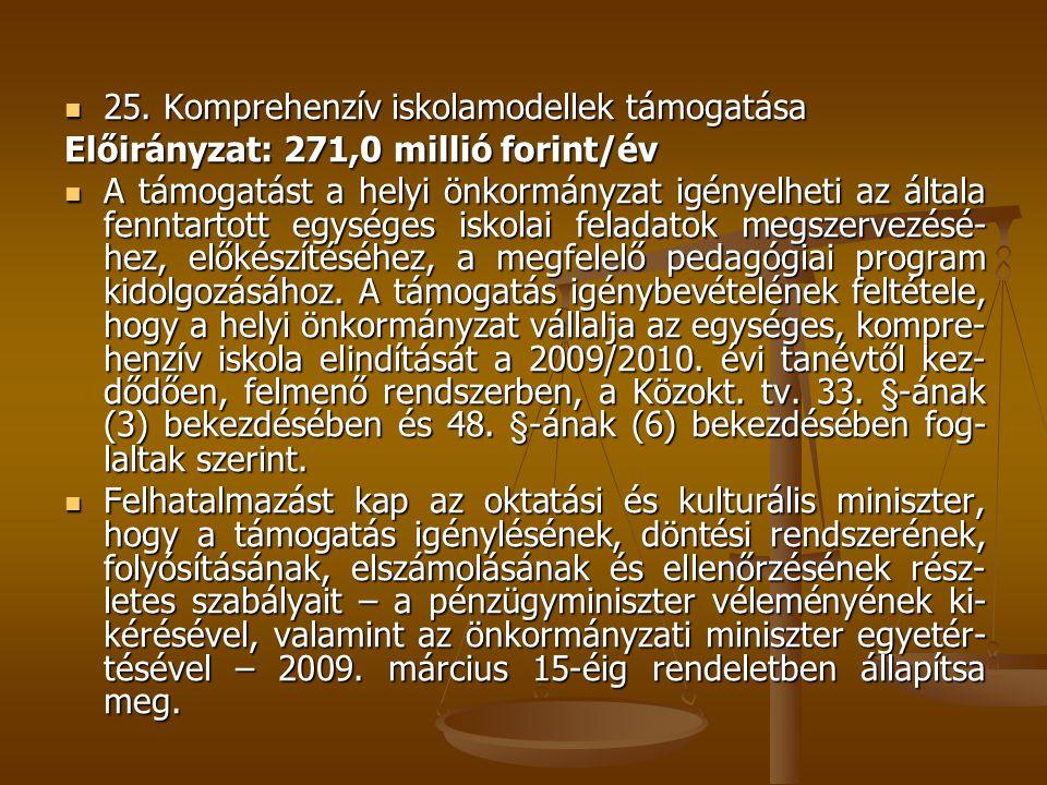 25. Komprehenzív iskolamodellek támogatása 25. Komprehenzív iskolamodellek támogatása Előirányzat: 271,0 millió forint/év A támogatást a helyi önkormá