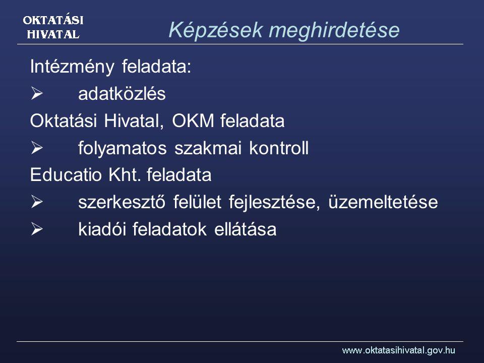 Képzések meghirdetése Intézmény feladata:  adatközlés Oktatási Hivatal, OKM feladata  folyamatos szakmai kontroll Educatio Kht. feladata  szerkeszt