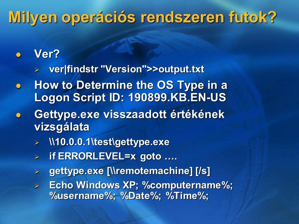 Milyen operációs rendszeren futok. Ver. Ver.