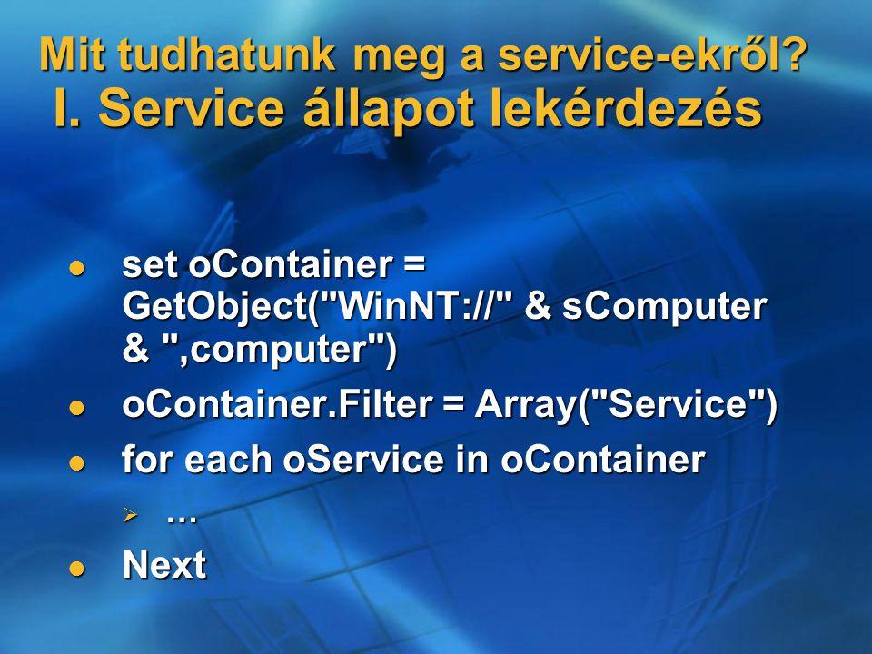 Mit tudhatunk meg a service-ekről. I.