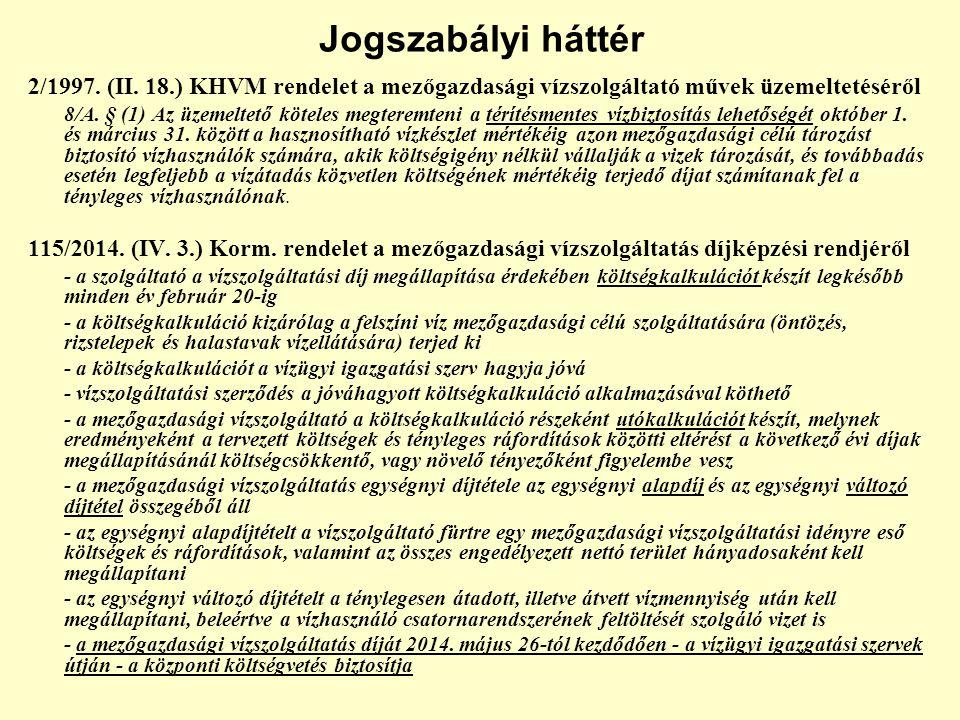 Jogszabályi háttér 2/1997. (II. 18.) KHVM rendelet a mezőgazdasági vízszolgáltató művek üzemeltetéséről 8/A. § (1) Az üzemeltető köteles megteremteni