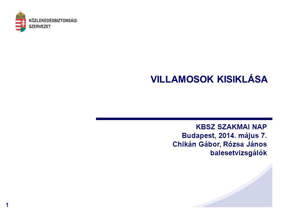 1 VILLAMOSOK KISIKLÁSA KBSZ SZAKMAI NAP Budapest, 2014. május 7. Chikán Gábor, Rózsa János balesetvizsgálók